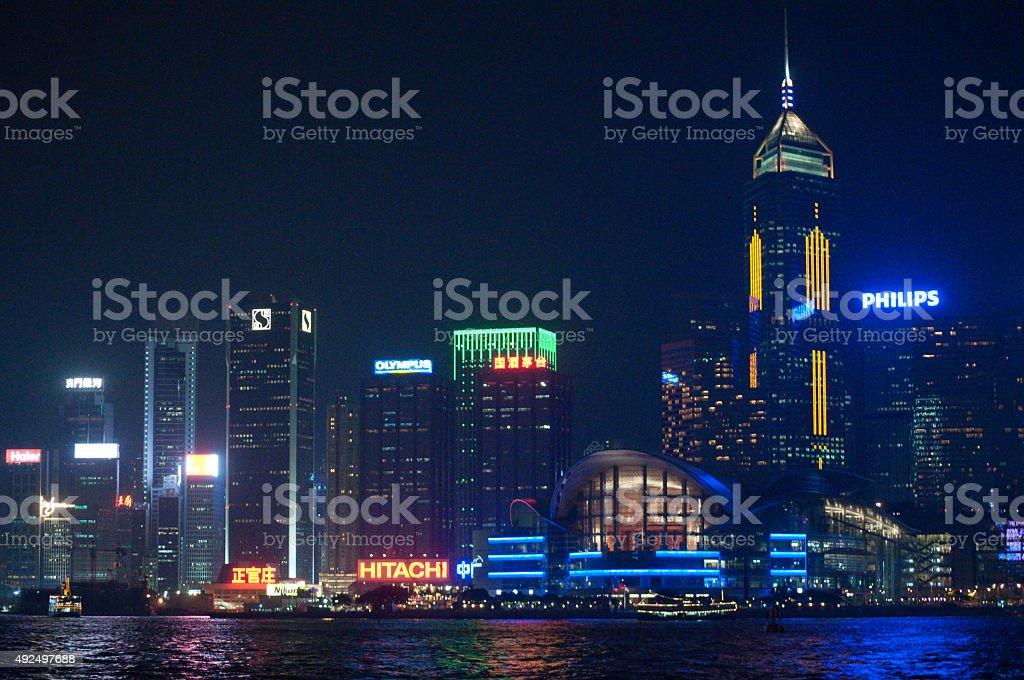 HK by night stock photo
