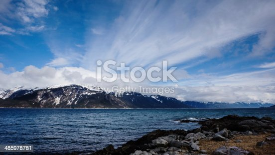 Blue water of the Lynn Canal near Haines Alaska with a spray of clouds.