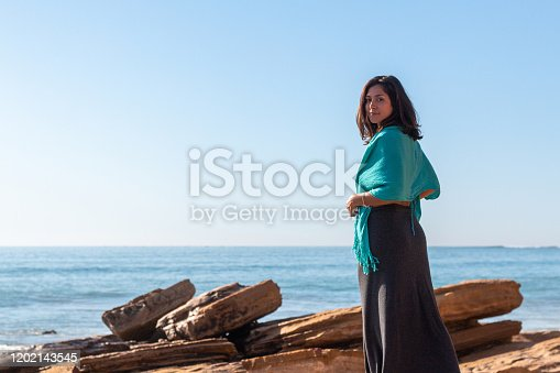 Woman by the sea in Morocco