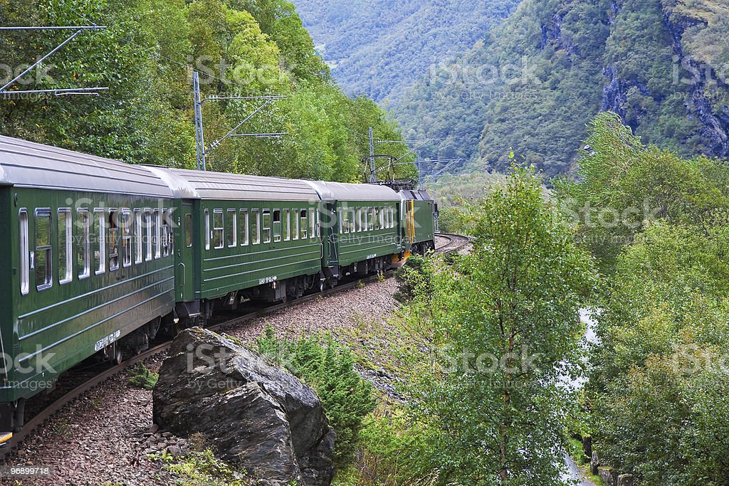 By the train across Scandinavian mountains royalty-free stock photo