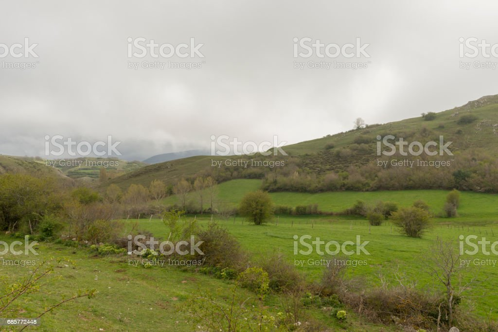 By the village of Argueso in the province of Cantabria royalty-free stock photo
