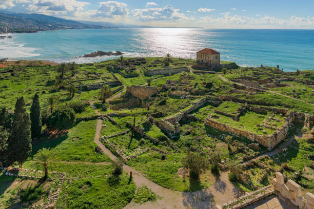 Byblos archeological site, Lebanon Panorama of Byblos archeological site with Phoenician, Roman and Crusader temple and fort ruins. beirut stock pictures, royalty-free photos & images