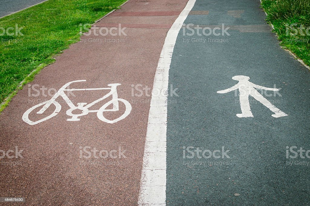Bycicle and pedestrian sign painted on the road asphalt stock photo