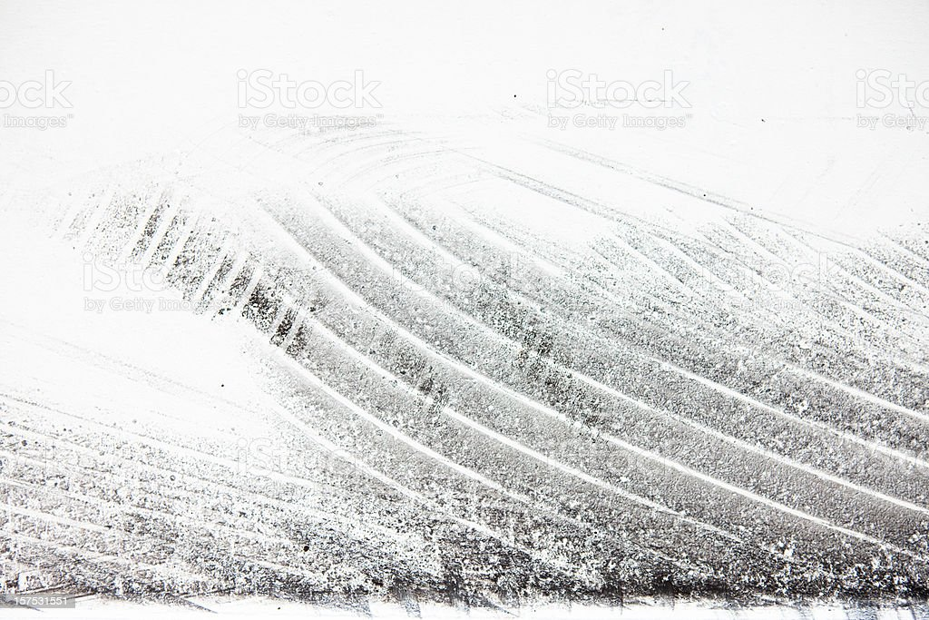 Bycicle tyre tread on a white surface stock photo