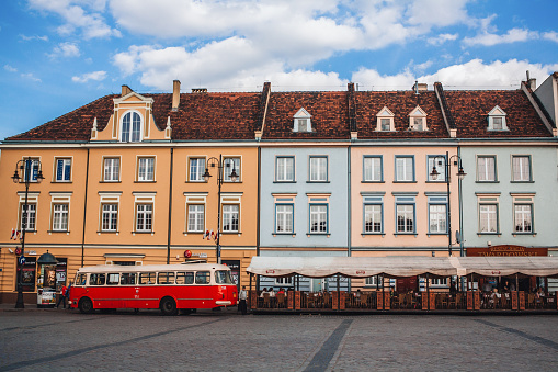 Bydgoszcz, Poland - April 30, 2016: Classic rare bus that is used normally on city route is one of interesting attractions in Bydgoszcz - city in northern Poland.