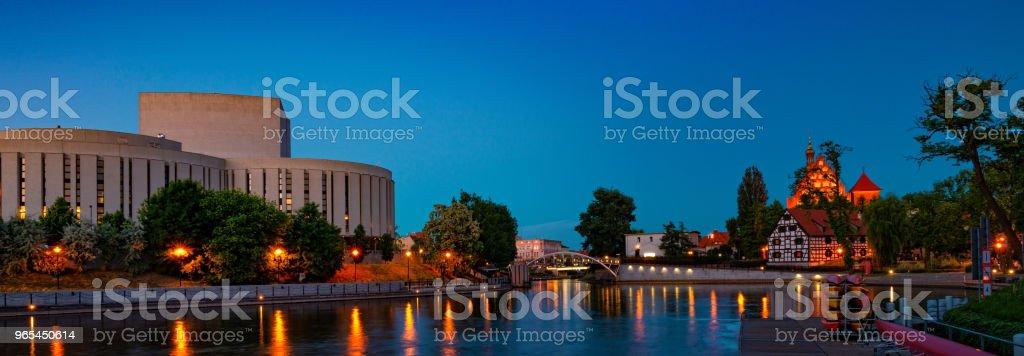 Bydgoszcz St. Martin  Cathedral and Mill Island zbiór zdjęć royalty-free