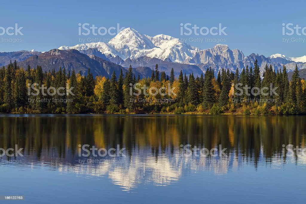 Byers Lake Alaska Fall with Mount McKinley, Denali, background stock photo