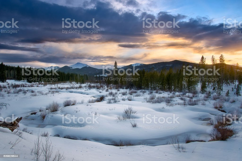 Byers Peak at Sunset stock photo