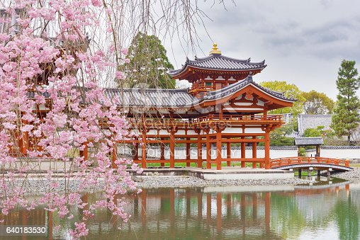 Kyoto, Japan - April 08 2016: Byodo-in is a Buddhist temple in the city of Uji in Kyoto Prefecture Japan. It is jointly a temple of the Jodo-shu (Pure Land) and Tendai-shu sects.