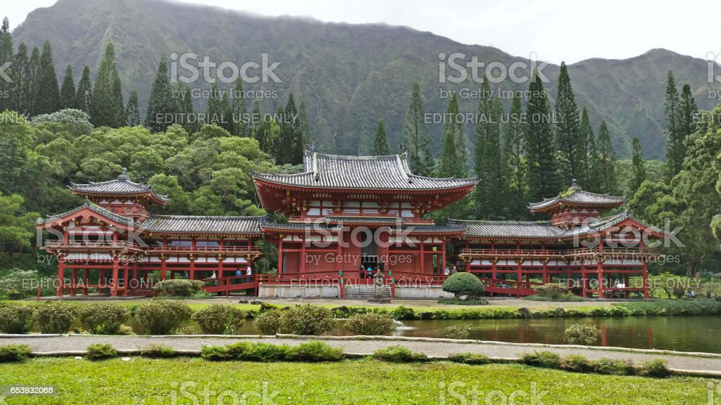 Byodo-In Temple, Valley of the Temples, Oahu, Hawaii stock photo