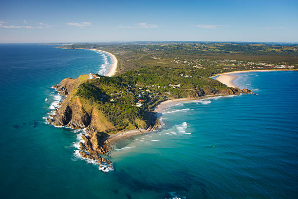 Byron Bay Aerial View Byron Bay headland in the morning. headland stock pictures, royalty-free photos & images