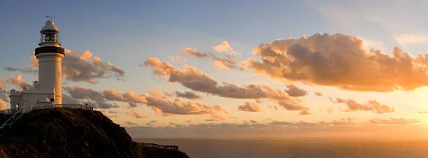 byron bay lighthouse vanilla sunrise - headland stock pictures, royalty-free photos & images