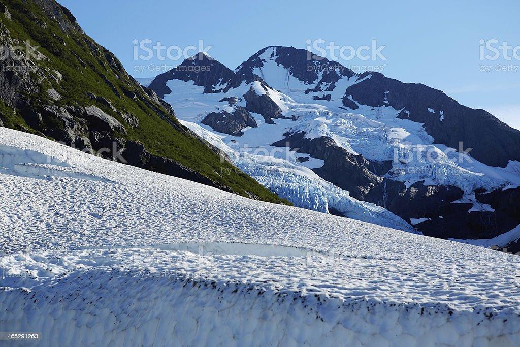 Byron Glacier and Mountain - Portage Valley, Alaska stock photo