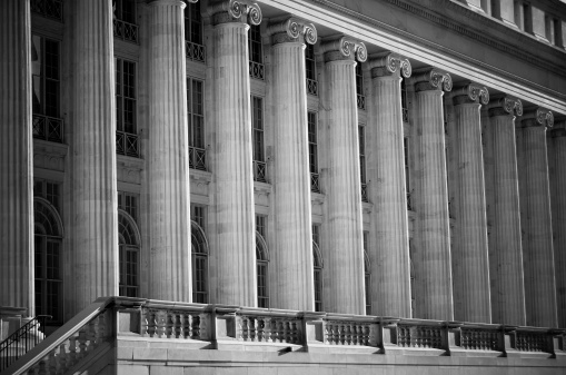 Architectural detail of the Byron White United States Courthouse in afternoon light in downtown Denver, Colorado.