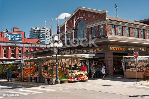 Ottawa, Canada - October 2, 2013: Part of Byward Market in Ottawa showing stalls and buildings. People can be seen near the building.