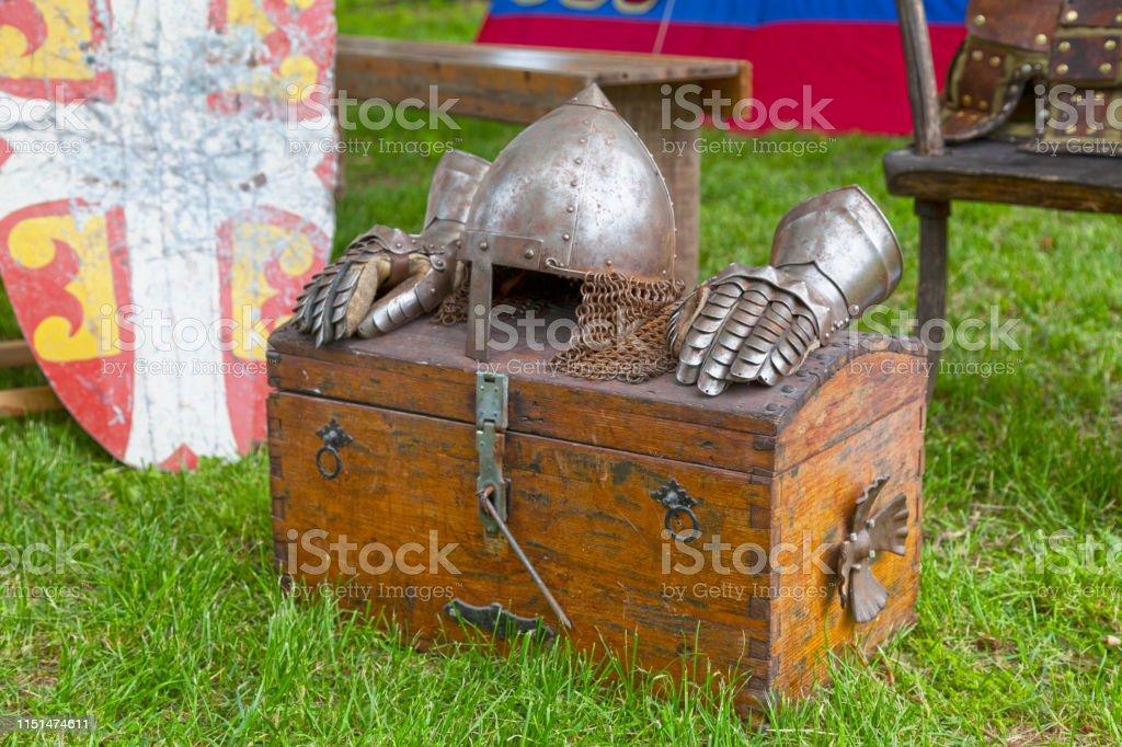 Byzantine body armor parts stock photo