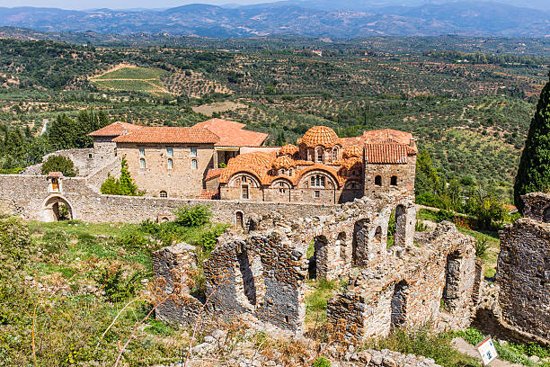 Byzantine church in medieval city of Mystras stock photo