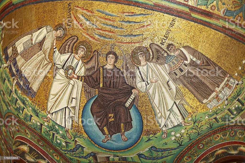 Byzantine Mosaic in San Vitale Basilica, Ravenna, Italy. stock photo