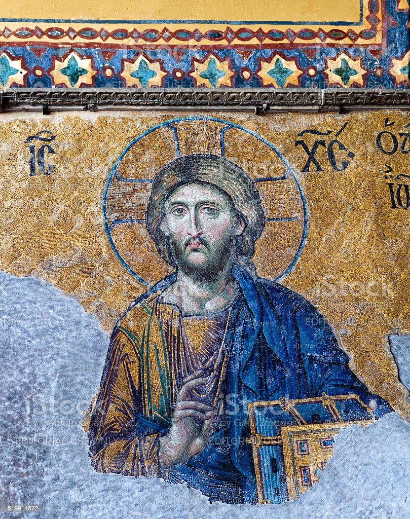 Byzantine mosaic in the Hagia Sophia in Istanbul, Turkey stock photo
