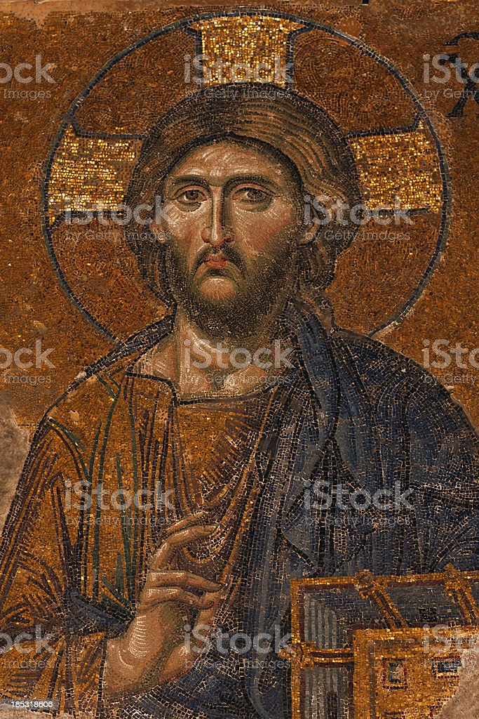 byzantine mosaic of the Jesus Christ stock photo