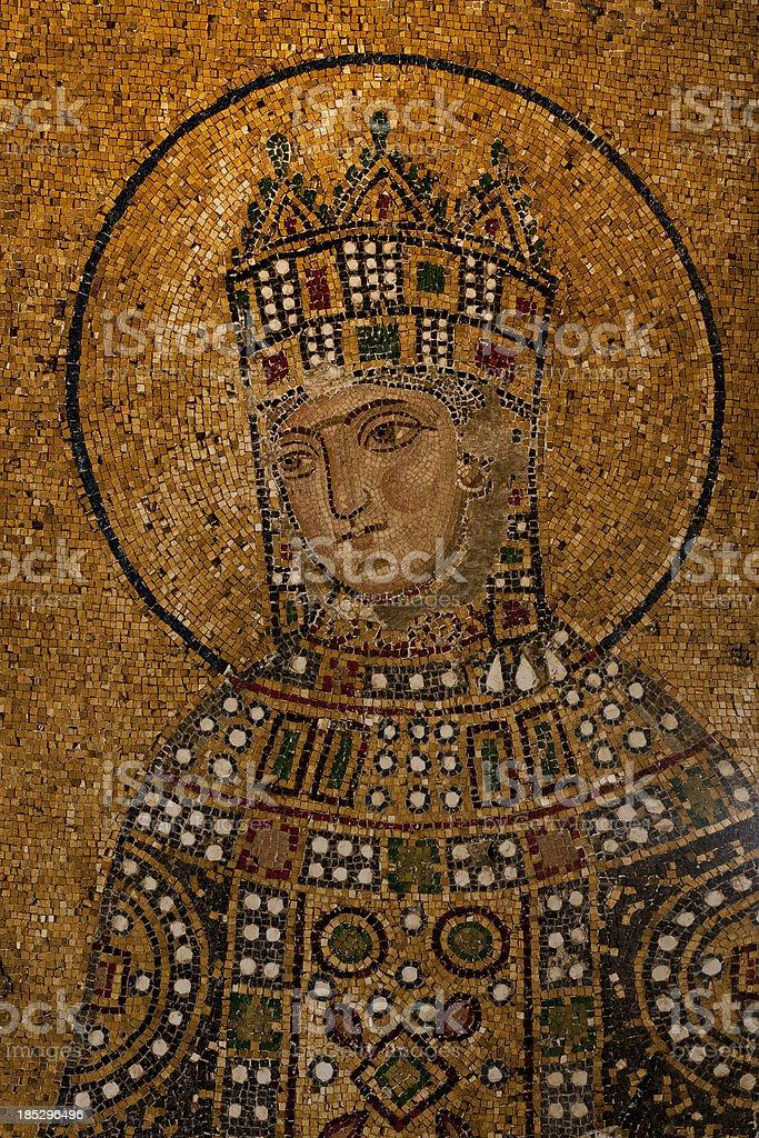 Byzantine mosaic of the Sacred Maria mother Jesus Christ stock photo