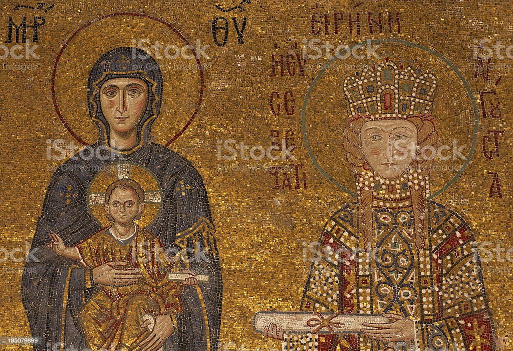Byzantine mosaic of the Sacred Maria With baby Jesus stock photo