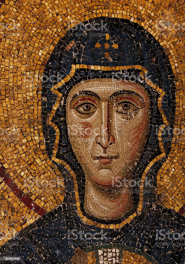 byzantine mosaic of the Virgin stock photo