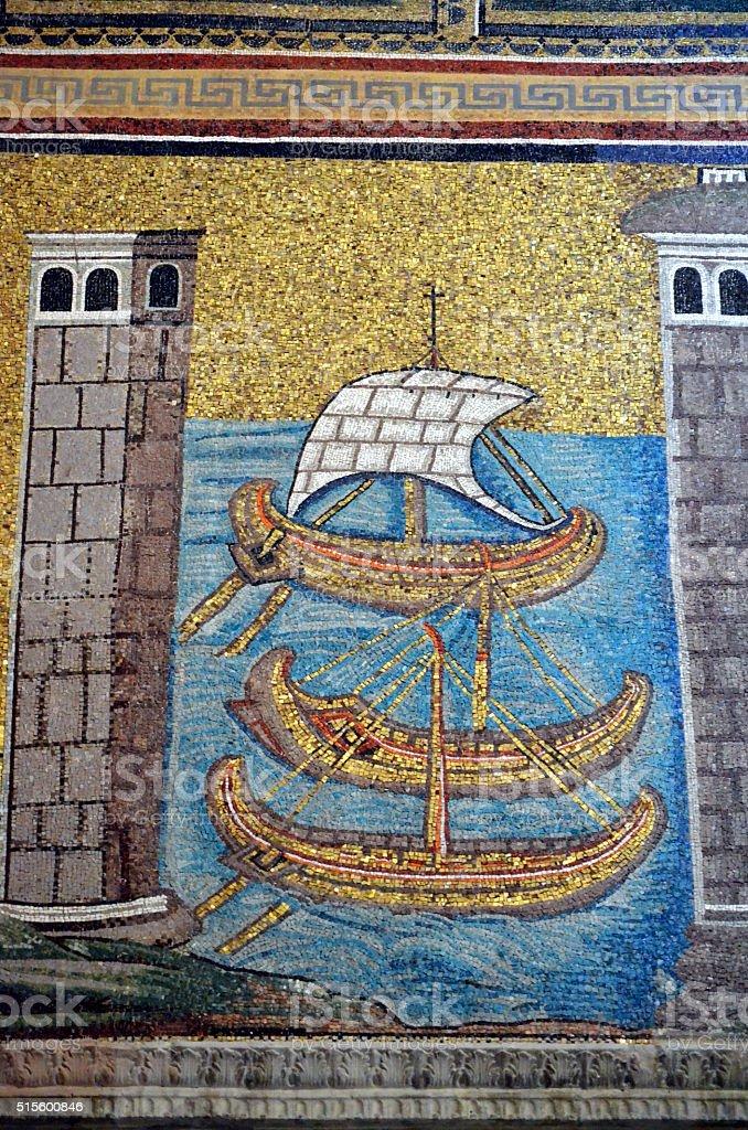 Byzantine mosaics from basilica of Saint Vitalis in Ravenna stock photo
