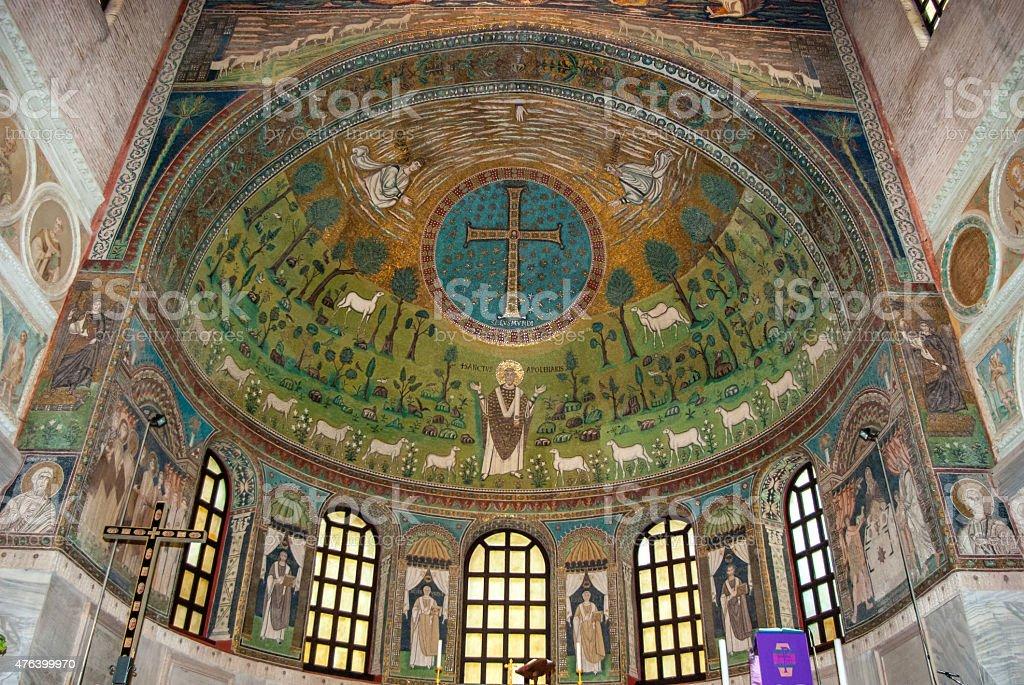 Byzantine mosaics of city of Ravenna in Italy stock photo