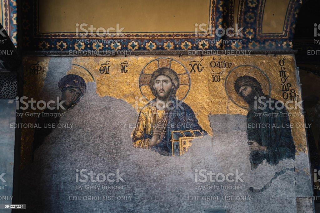 Byzantine mosaics of Hagia Sophia stock photo