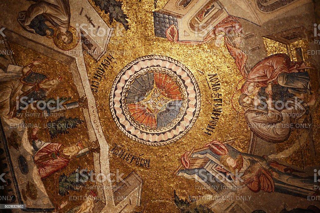 Byzantium Mosaic In Kariye Museum stock photo