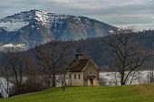 XIII c. St. Meinrad Chappel on the shores of Upper Zurich Lake (Obersee) near Bollingen, St. Gallen, Switzerland