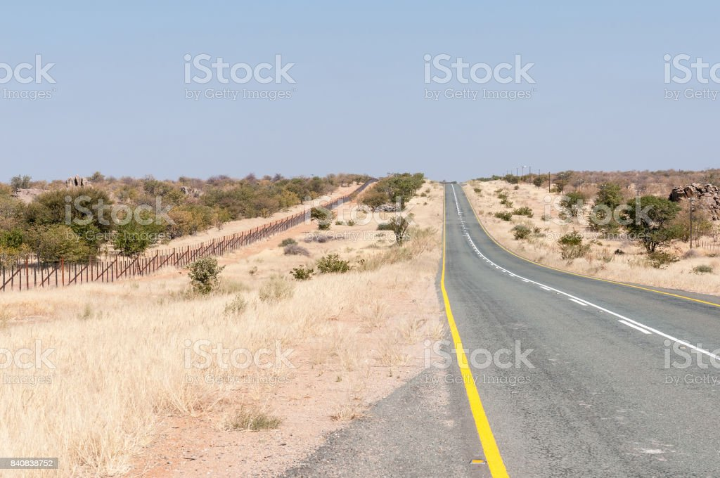 C35-road north of Kamanjab in North-Western Namibia stock photo