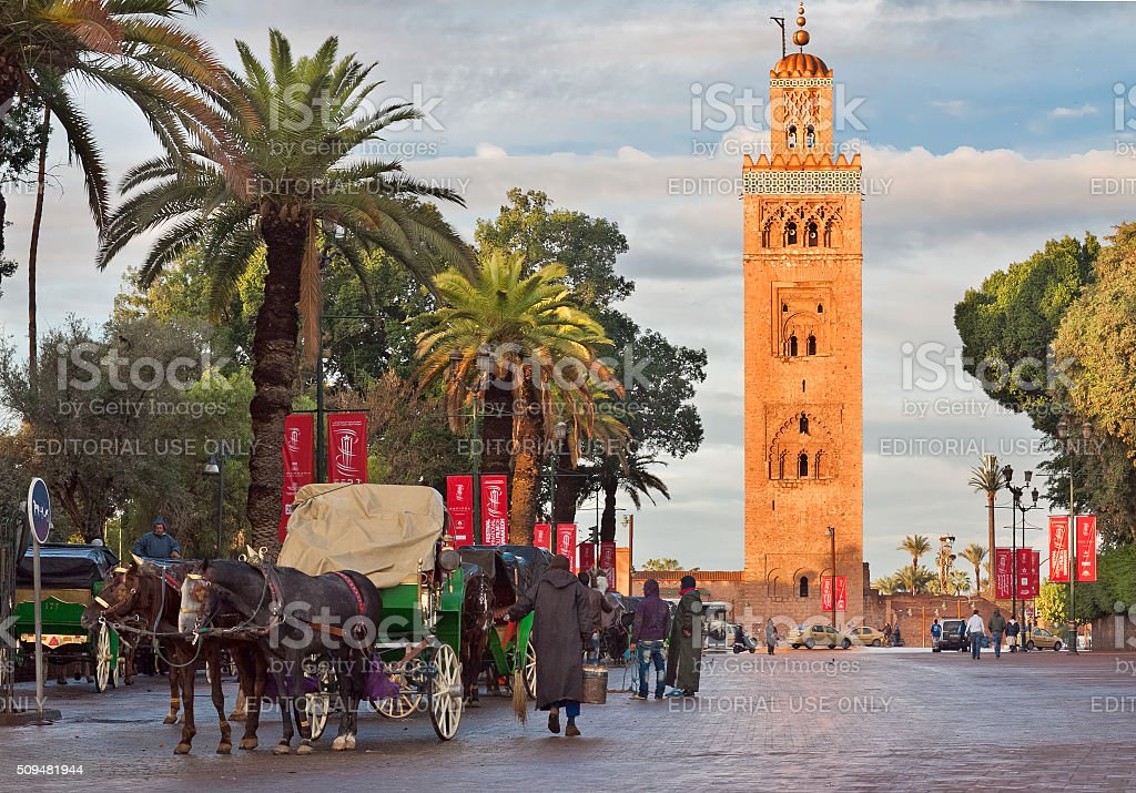 Cab drivers in horse-drawn carriages around Koutoubia stock photo
