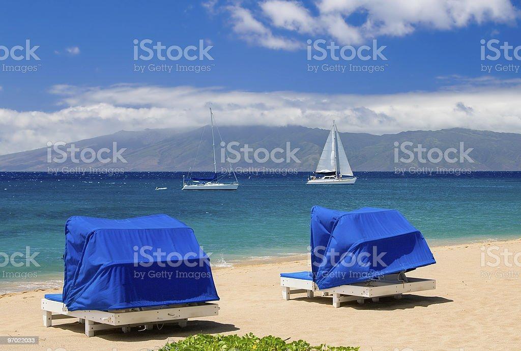 Cabanas by the Sea royalty-free stock photo
