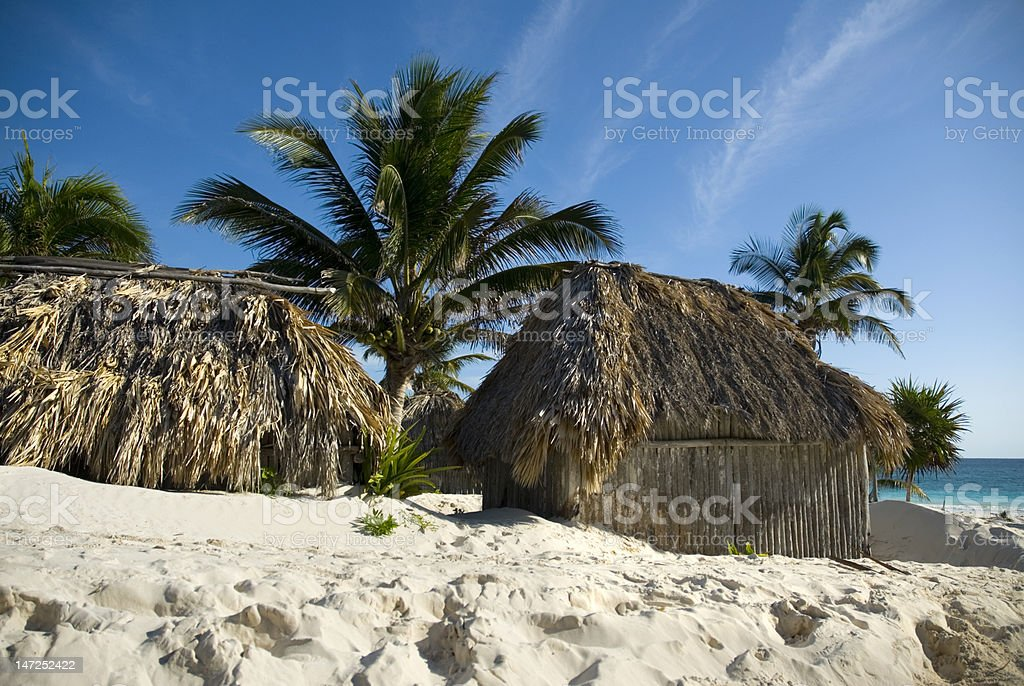 Cabanas in the sand of Tulum royalty-free stock photo