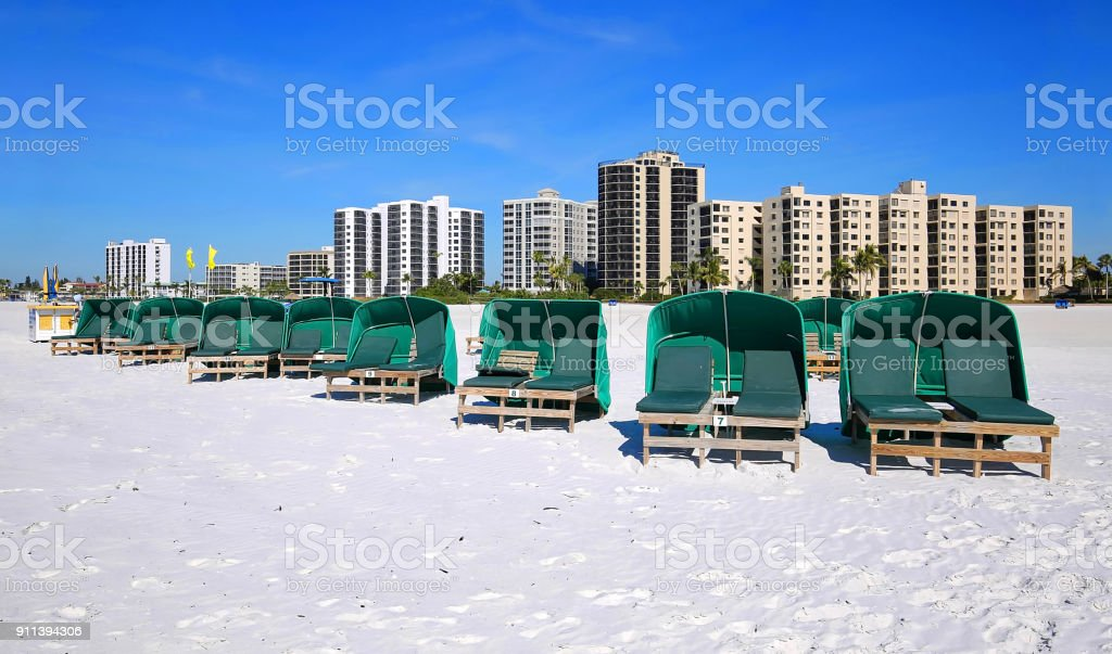 Cabanas waiting for guests on Fort Myers Beach stock photo