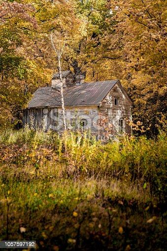 Une vieille cabane à sucre dans la forêt automnale au Québec.