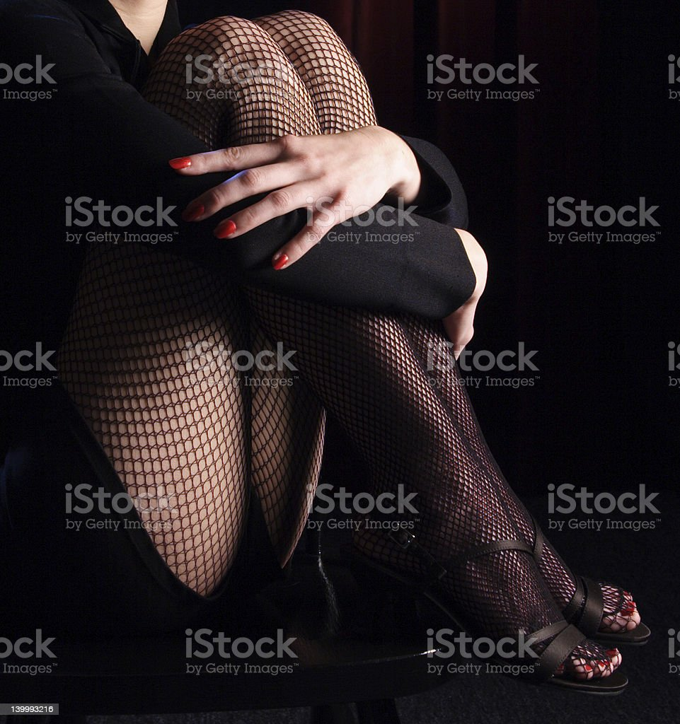 Cabaret Dancer on a Chair stock photo