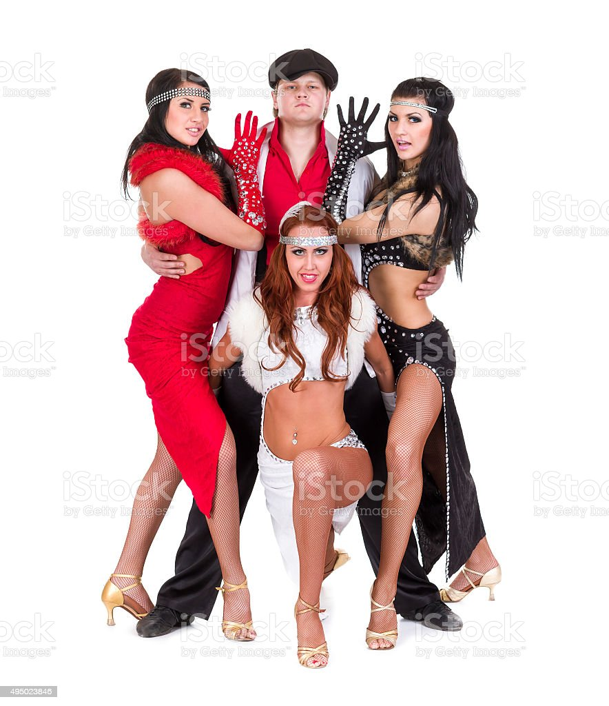 e7814224e cabaret dancer team dressed in vintage costumes royalty-free stock photo