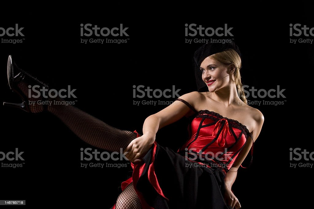 Cabaret girl kick royalty-free stock photo