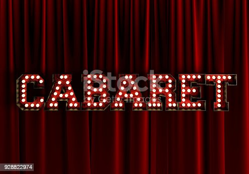 939154550 istock photo Cabaret In front Of Red Theater Curtain. 3d Rendering. 928822974