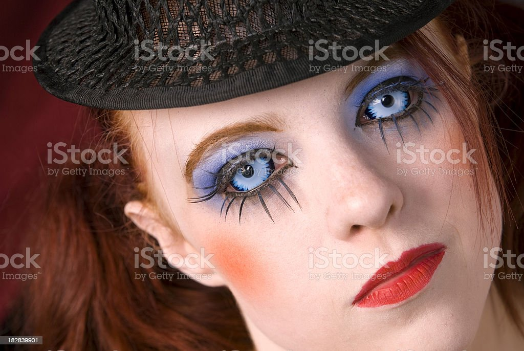 Cabaret Performer Face & Stage Makeup, Redhead Woman & Blue Contact Lenses royalty-free stock photo