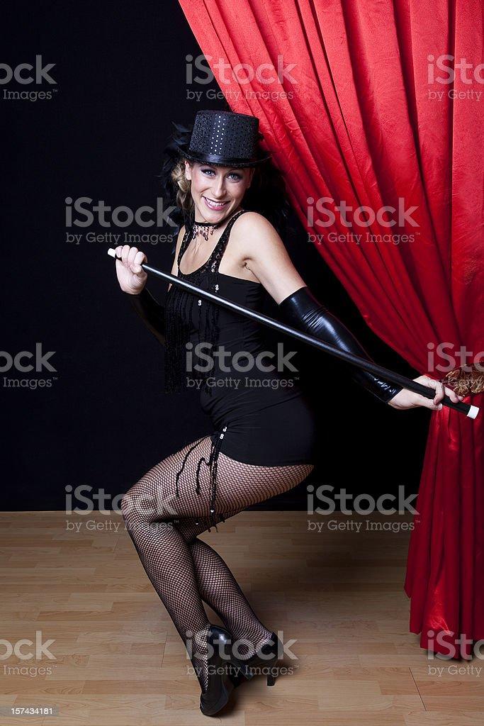Cabaret Showgirl on Stage stock photo