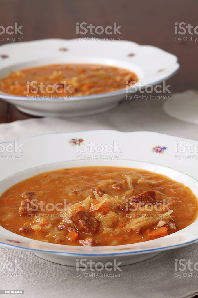 Cabbage and red pepper soup royalty-free stock photo