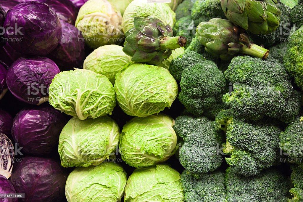 Cabbage Broccoli and Artichoke stock photo