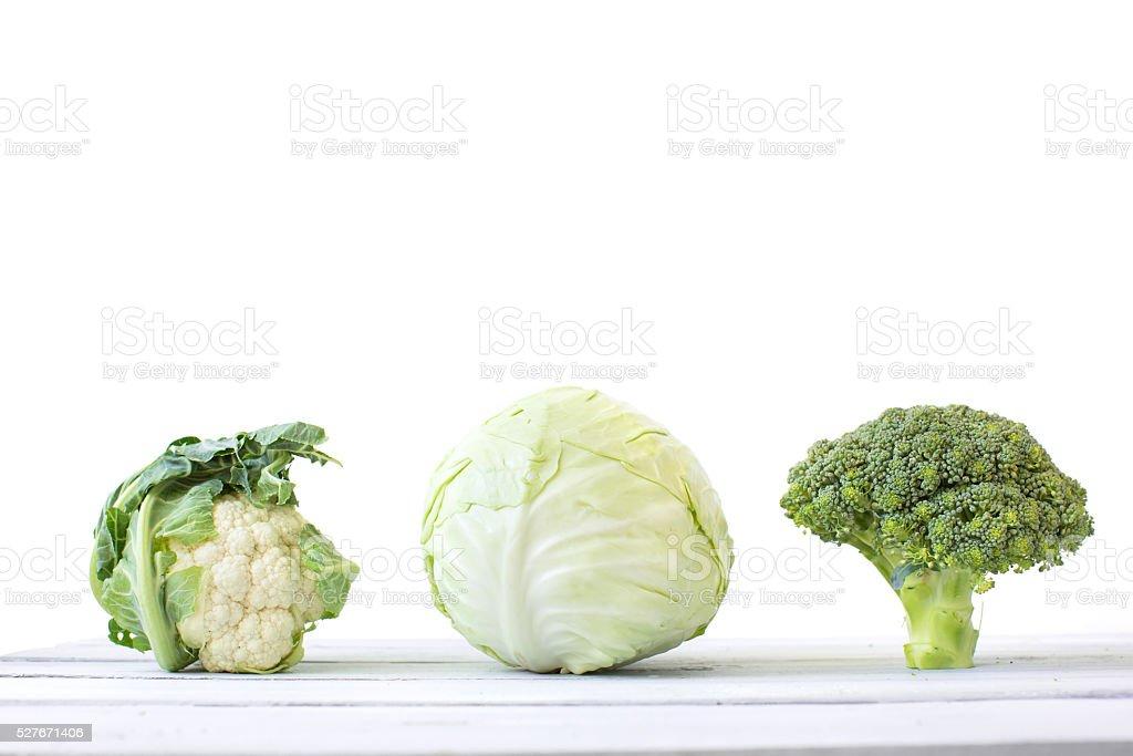 Cabbage, broccoli, and cauliflower stock photo