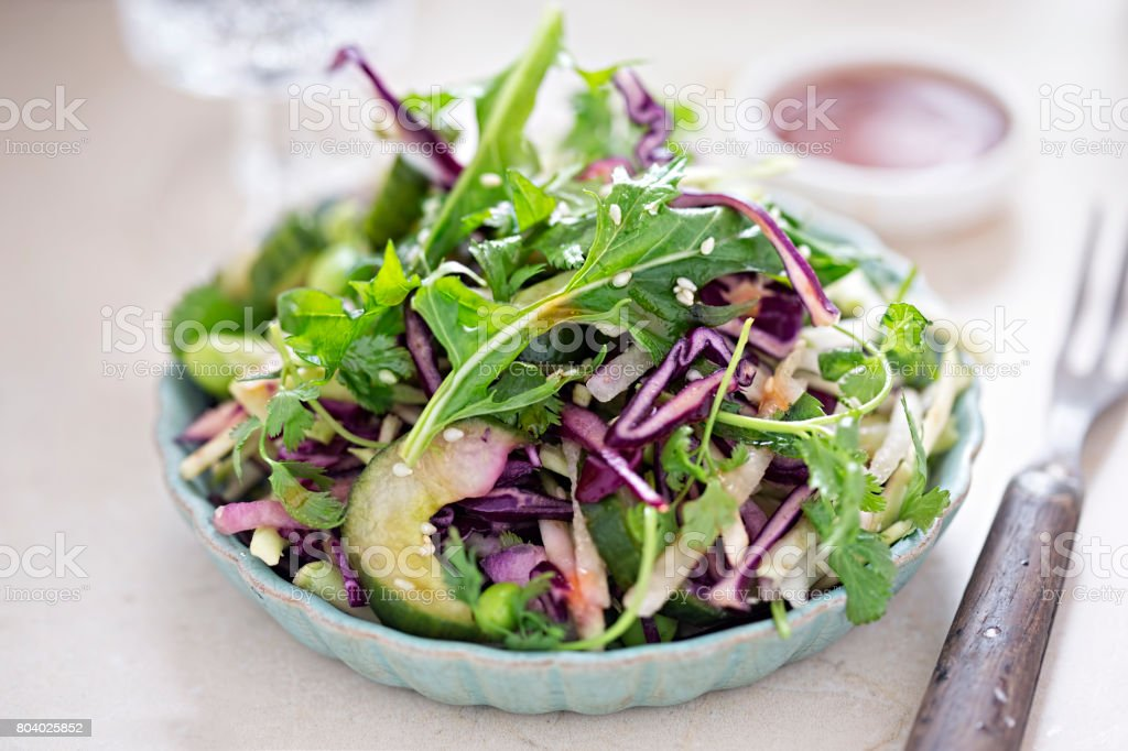 Cabbage edamame, soybean salad with shredded broccoli, cucumber, coriander sesame seeds and soy lime dressing stock photo