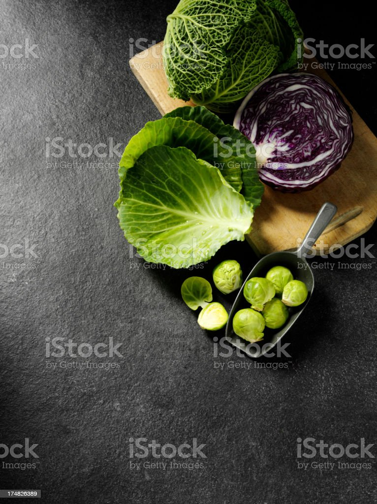 Cabbage Family on a Slate background stock photo