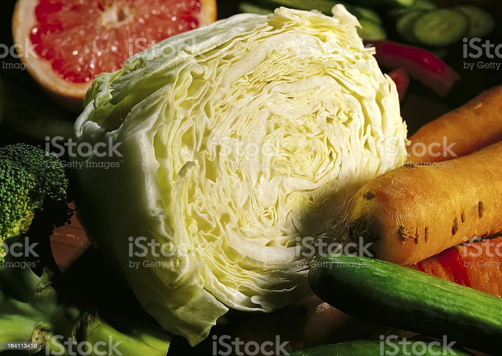 Cabbage, mixed fruits and vegetables royalty-free stock photo